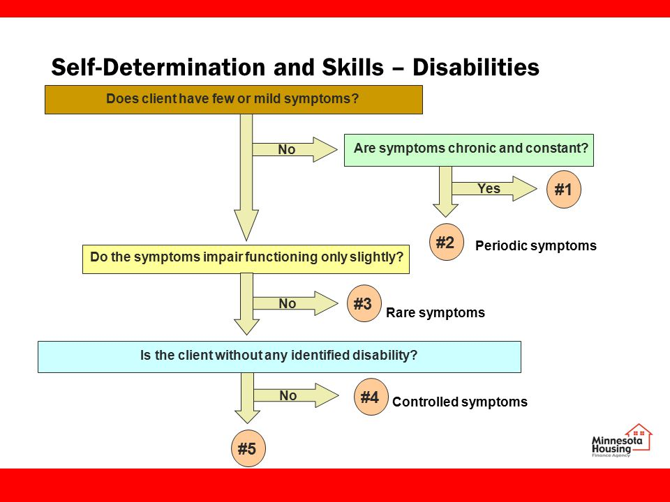 Self-Determination and Skills – Disabilities Does client have few or mild symptoms.
