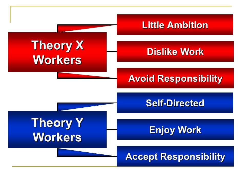 Theory X Workers Dislike Work Avoid Responsibility Little Ambition Theory Y Workers Enjoy Work Accept Responsibility Self-Directed