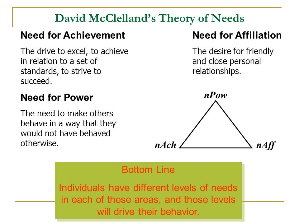 David McClelland's Theory of Needs nAch nPow nAff Need for Achievement The drive to excel, to achieve in relation to a set of standards, to strive to