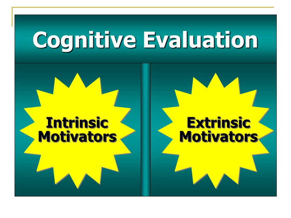 Cognitive Evaluation Intrinsic Motivators Intrinsic Motivators Extrinsic Motivators Extrinsic Motivators