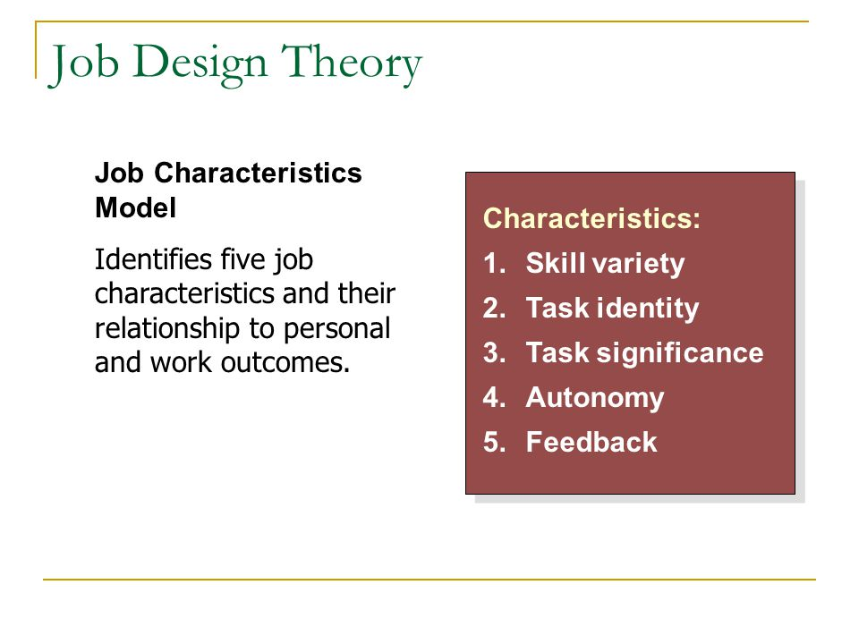 Job Design Theory Characteristics: 1.Skill variety 2.Task identity 3.Task significance 4.Autonomy 5.Feedback Characteristics: 1.Skill variety 2.Task i