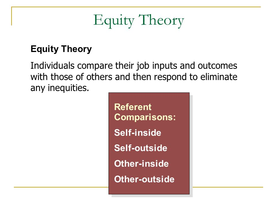 Equity Theory Referent Comparisons: Self-inside Self-outside Other-inside Other-outside Referent Comparisons: Self-inside Self-outside Other-inside Ot