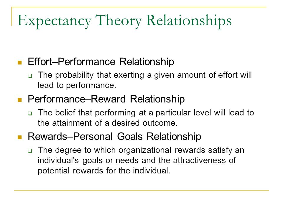 Expectancy Theory Relationships Effort–Performance Relationship  The probability that exerting a given amount of effort will lead to performance. Per
