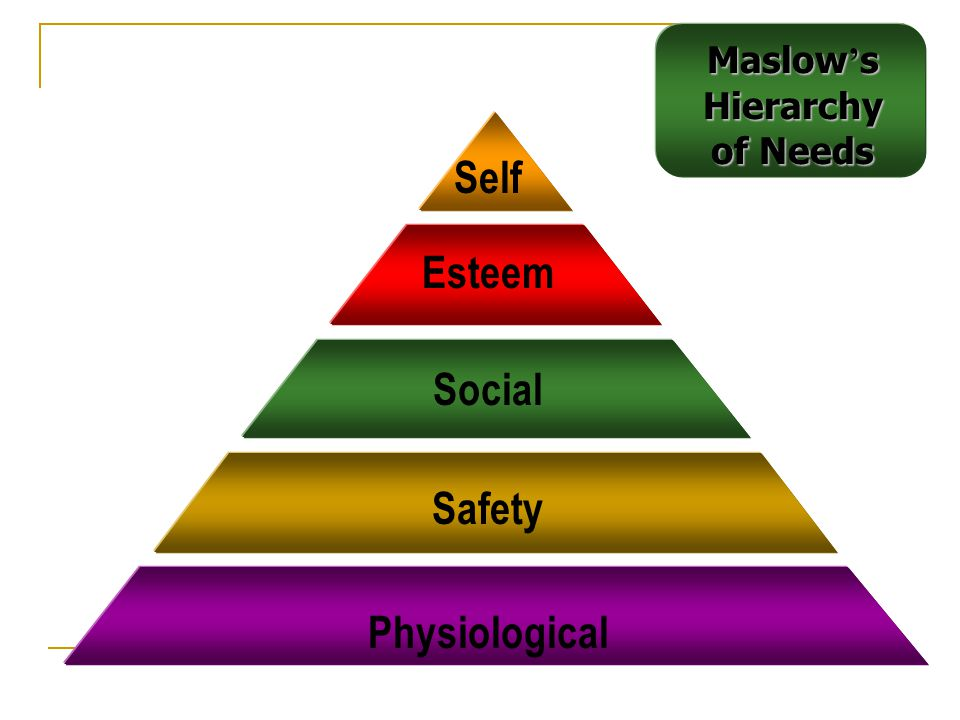 Assumptions of Maslow's Hierarchy Individuals cannot move to the next higher level until all needs at the current (lower) level are satisfied.