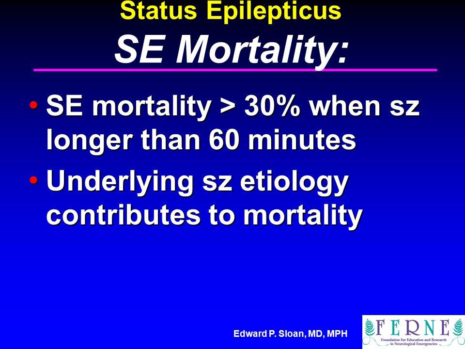 Edward P. Sloan, MD, MPH Status Epilepticus SE Mortality: SE mortality > 30% when sz longer than 60 minutes SE mortality > 30% when sz longer than 60