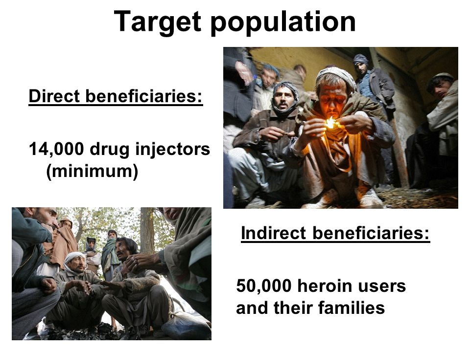 Overall objective To reduce the social and health risks related to drug injection among drug users in Kabul (Afghanistan) that do not want to or are unable to either stop using or change their method of use over a period of three years