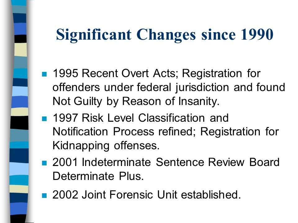 Significant Changes since 1990 n 1995 Recent Overt Acts; Registration for offenders under federal jurisdiction and found Not Guilty by Reason of Insan