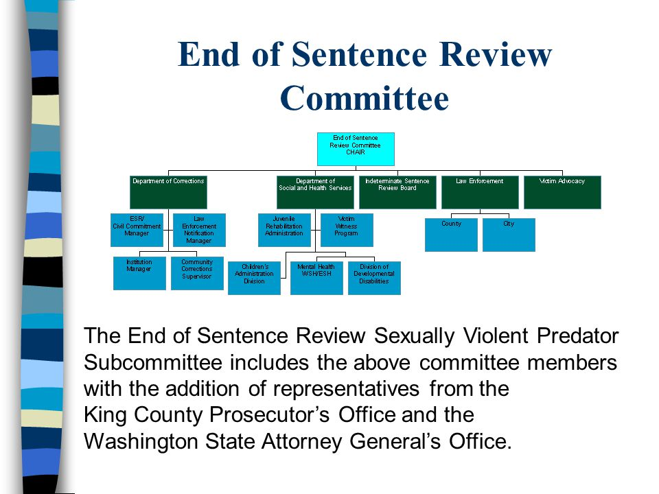 Sex Offender Civil Commitment n Sexually violent offense per RCW 71.09.020 n Mental abnormality or personality disorder that predisposes that person to commit acts of sexual violence n More likely than not to re-offend in predatory sexually violent manner if not confined in a secure facility –Predatory means acts directed towards strangers or individuals with whom a relationship has been established or promoted for the primary purpose of victimization or persons of casual acquaintance with whom no substantial relationship exists.