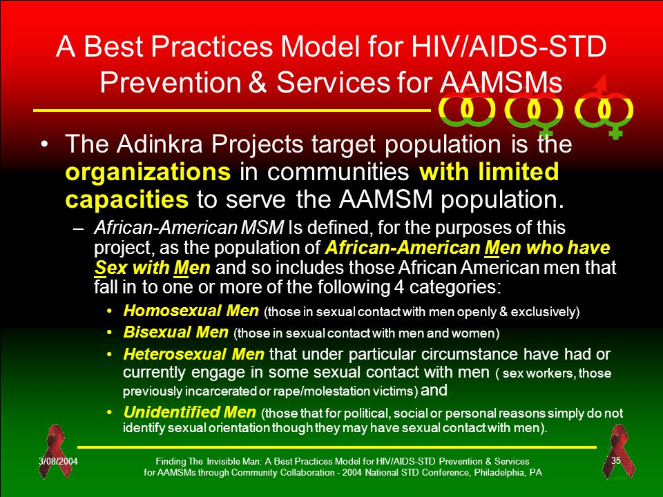OES 3/08/2004Finding The Invisible Man: A Best Practices Model for HIV/AIDS-STD Prevention & Services for AAMSMs through Community Collaboration - 2004 National STD Conference, Philadelphia, PA 35 A Best Practices Model for HIV/AIDS-STD Prevention & Services for AAMSMs The Adinkra Projects target population is the organizations in communities with limited capacities to serve the AAMSM population.