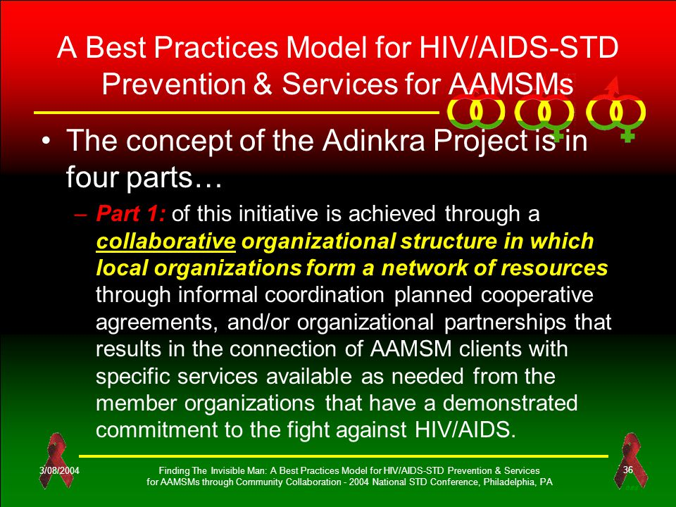 OES 3/08/2004Finding The Invisible Man: A Best Practices Model for HIV/AIDS-STD Prevention & Services for AAMSMs through Community Collaboration - 2004 National STD Conference, Philadelphia, PA 36 A Best Practices Model for HIV/AIDS-STD Prevention & Services for AAMSMs The concept of the Adinkra Project is in four parts… –Part 1: of this initiative is achieved through a collaborative organizational structure in which local organizations form a network of resources through informal coordination planned cooperative agreements, and/or organizational partnerships that results in the connection of AAMSM clients with specific services available as needed from the member organizations that have a demonstrated commitment to the fight against HIV/AIDS.