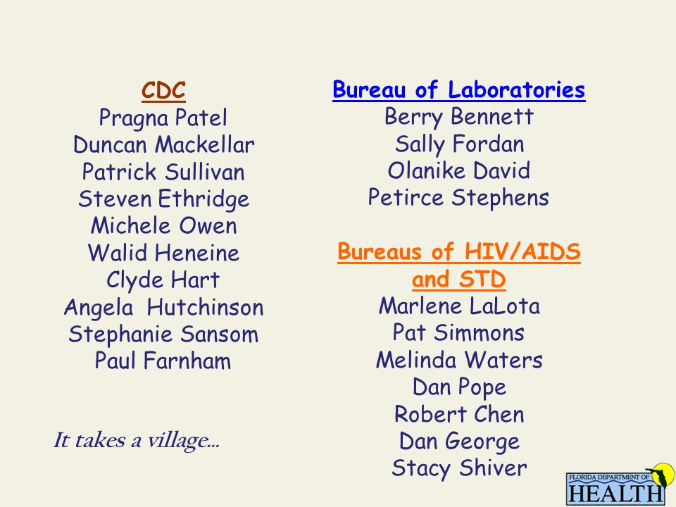 Bureau of Laboratories Berry Bennett Sally Fordan Olanike David Petirce Stephens Bureaus of HIV/AIDS and STD Marlene LaLota Pat Simmons Melinda Waters