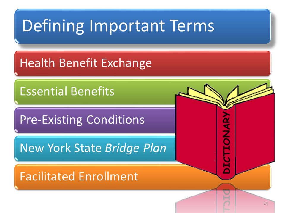 Defining Important Terms Health Benefit Exchange Essential Benefits Pre-Existing Conditions New York State Bridge Plan Facilitated Enrollment 24