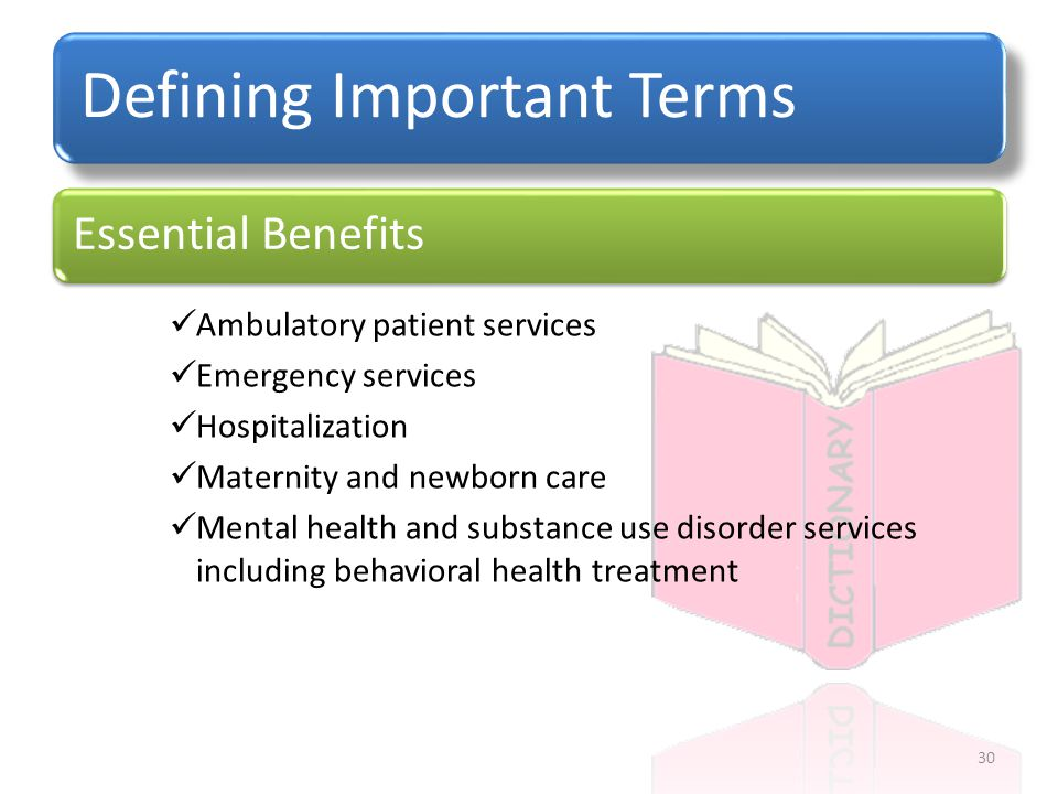 Defining Important Terms Ambulatory patient services Emergency services Hospitalization Maternity and newborn care Mental health and substance use disorder services including behavioral health treatment Essential Benefits 30