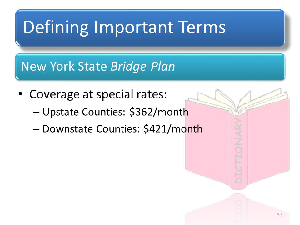 New York State Bridge Plan Defining Important Terms Coverage at special rates: – Upstate Counties: $362/month – Downstate Counties: $421/month 37