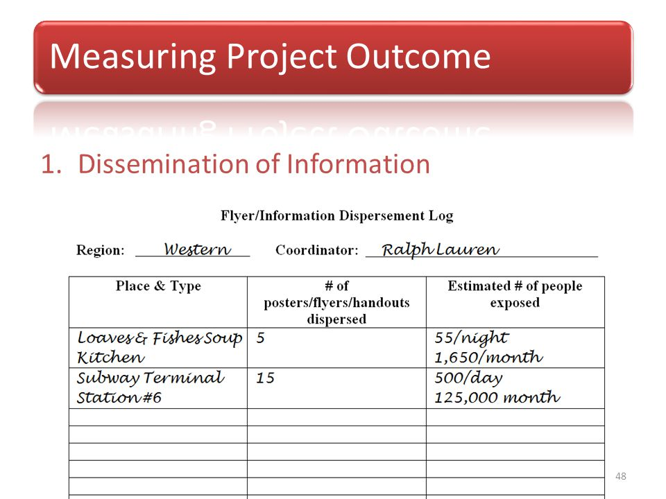 Project Outcomes and Evaluation Tools 1.Dissemination of Information 48