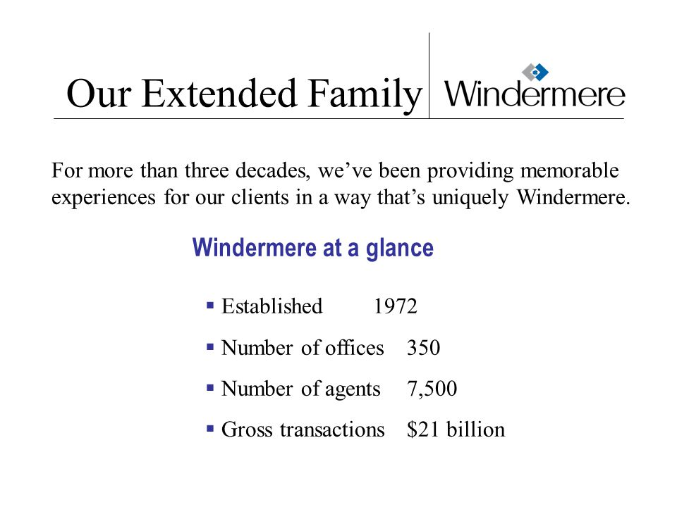 Our Extended Family Windermere at a glance  Established 1972  Number of offices 350  Number of agents 7,500  Gross transactions $21 billion For more than three decades, we've been providing memorable experiences for our clients in a way that's uniquely Windermere.