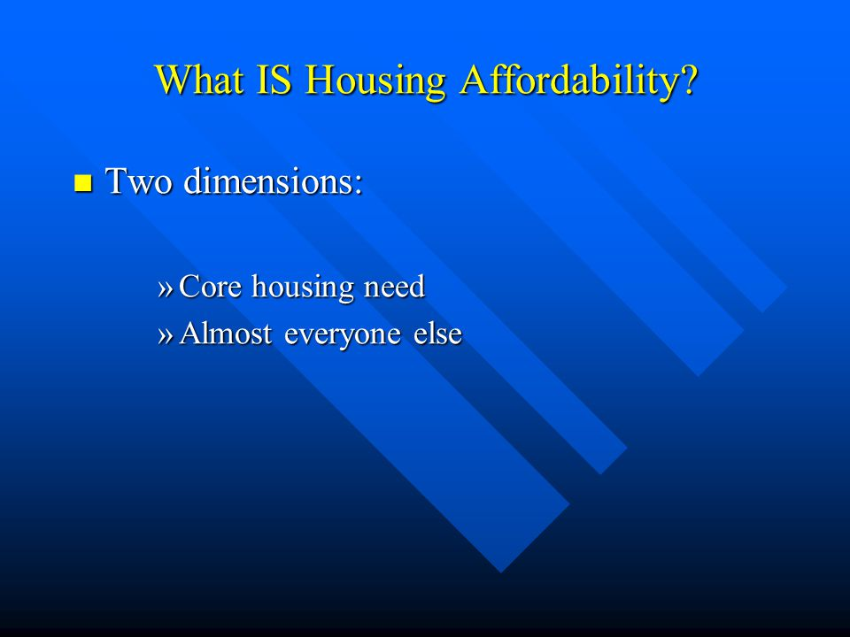 What IS Housing Affordability.