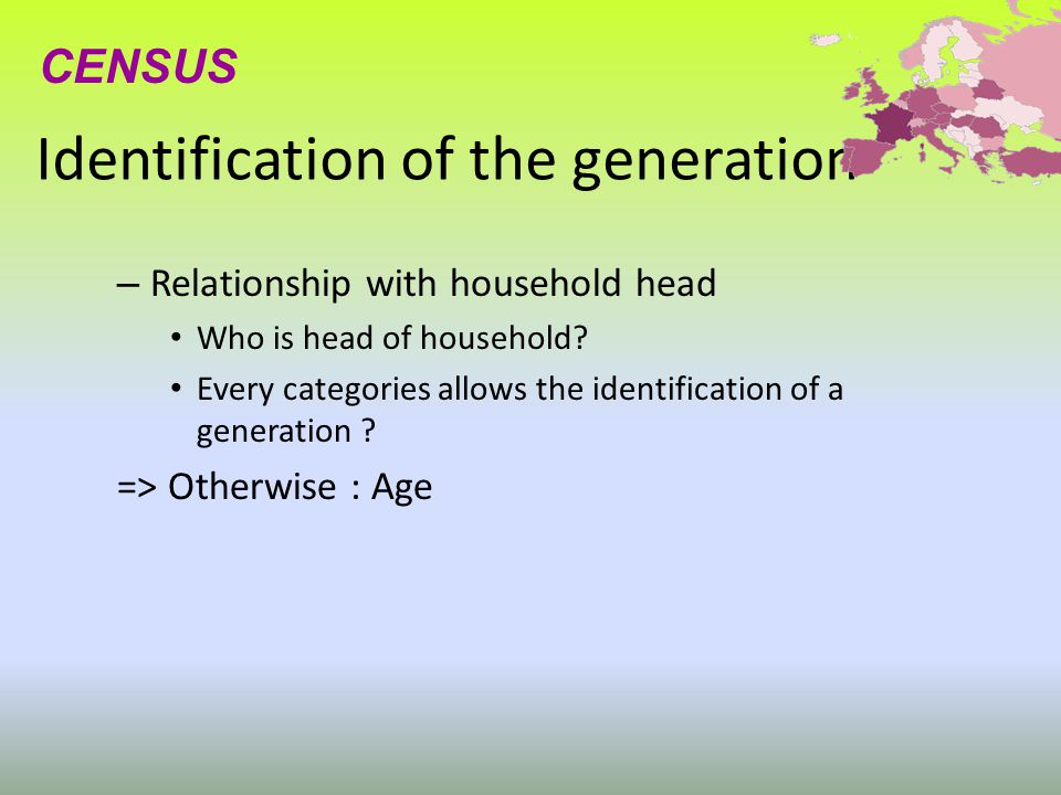 Identification of the generation – Relationship with household head Who is head of household? Every categories allows the identification of a generati