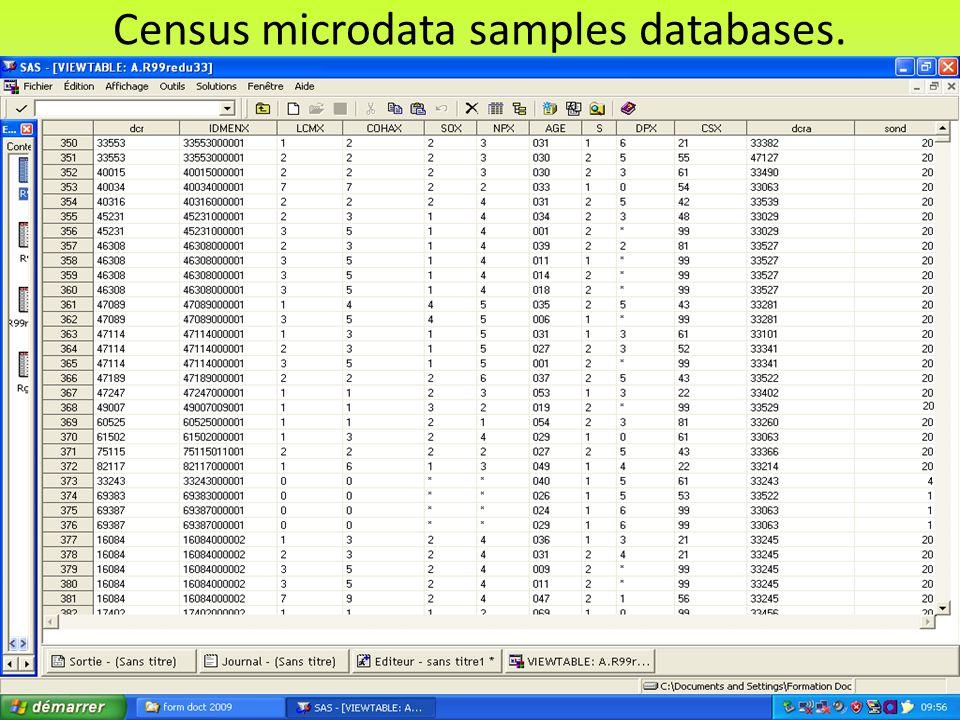 Census microdata samples databases.