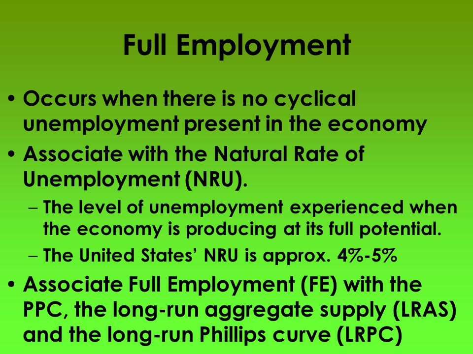 Full Employment Occurs when there is no cyclical unemployment present in the economy Associate with the Natural Rate of Unemployment (NRU). – The leve