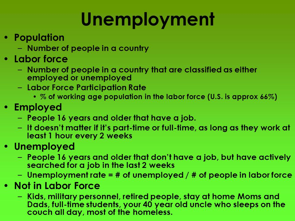Unemployment Population – Number of people in a country Labor force – Number of people in a country that are classified as either employed or unemploy