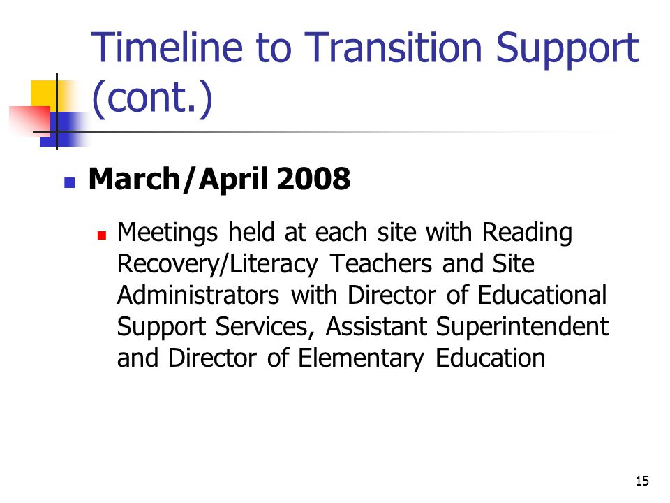 15 Timeline to Transition Support (cont.) March/April 2008 Meetings held at each site with Reading Recovery/Literacy Teachers and Site Administrators with Director of Educational Support Services, Assistant Superintendent and Director of Elementary Education