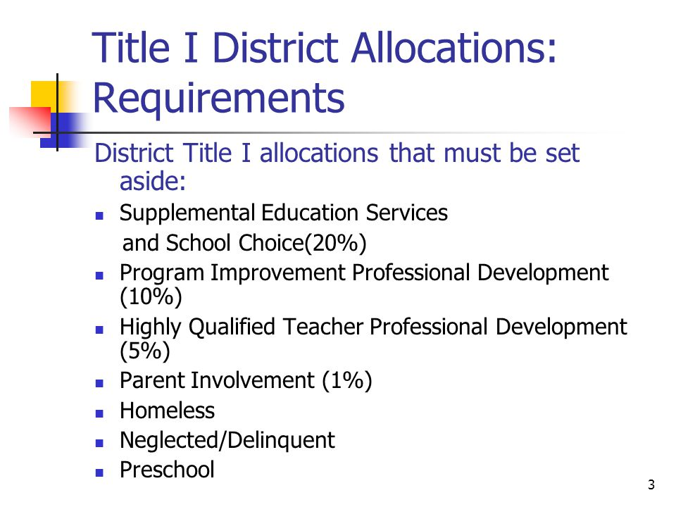 3 Title I District Allocations: Requirements District Title I allocations that must be set aside: Supplemental Education Services and School Choice(20%) Program Improvement Professional Development (10%) Highly Qualified Teacher Professional Development (5%) Parent Involvement (1%) Homeless Neglected/Delinquent Preschool