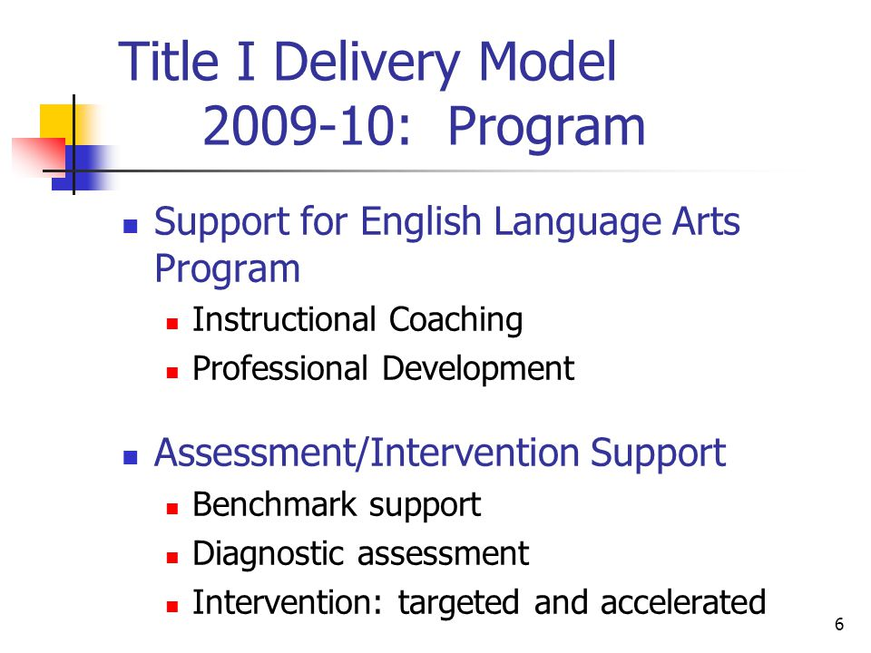 6 Title I Delivery Model : Program Support for English Language Arts Program Instructional Coaching Professional Development Assessment/Intervention Support Benchmark support Diagnostic assessment Intervention: targeted and accelerated