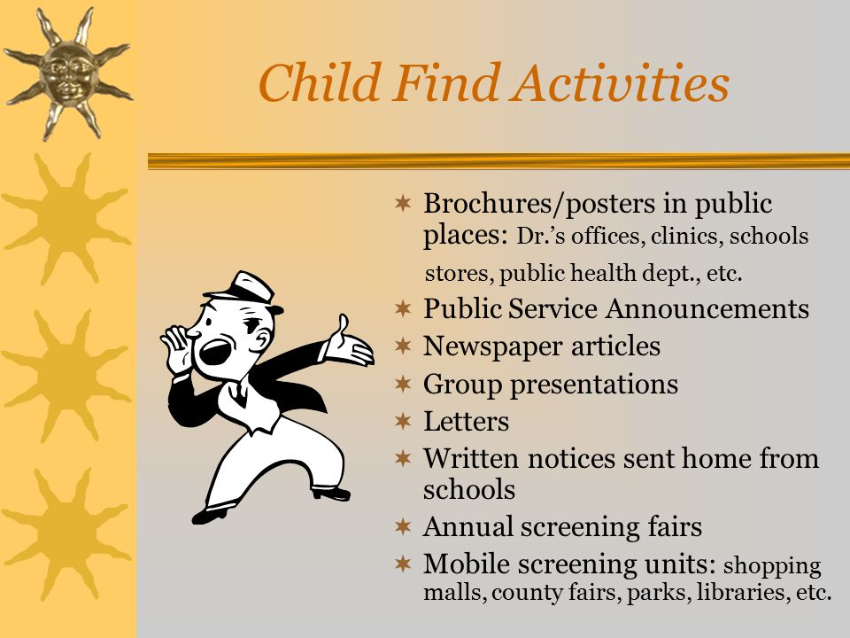 Child Find Activities  Brochures/posters in public places: Dr.'s offices, clinics, schools stores, public health dept., etc.