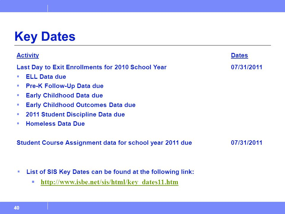 40 Key Dates ActivityDates Last Day to Exit Enrollments for 2010 School Year  ELL Data due  Pre-K Follow-Up Data due  Early Childhood Data due  Early Childhood Outcomes Data due  2011 Student Discipline Data due  Homeless Data Due Student Course Assignment data for school year 2011 due 07/31/2011  List of SIS Key Dates can be found at the following link:  http://www.isbe.net/sis/html/key_dates11.htm http://www.isbe.net/sis/html/key_dates11.htm