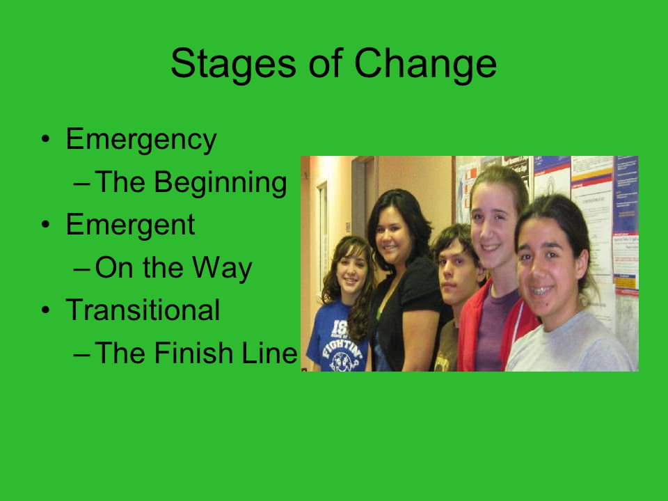 Stages of Change Emergency –The Beginning Emergent –On the Way Transitional –The Finish Line