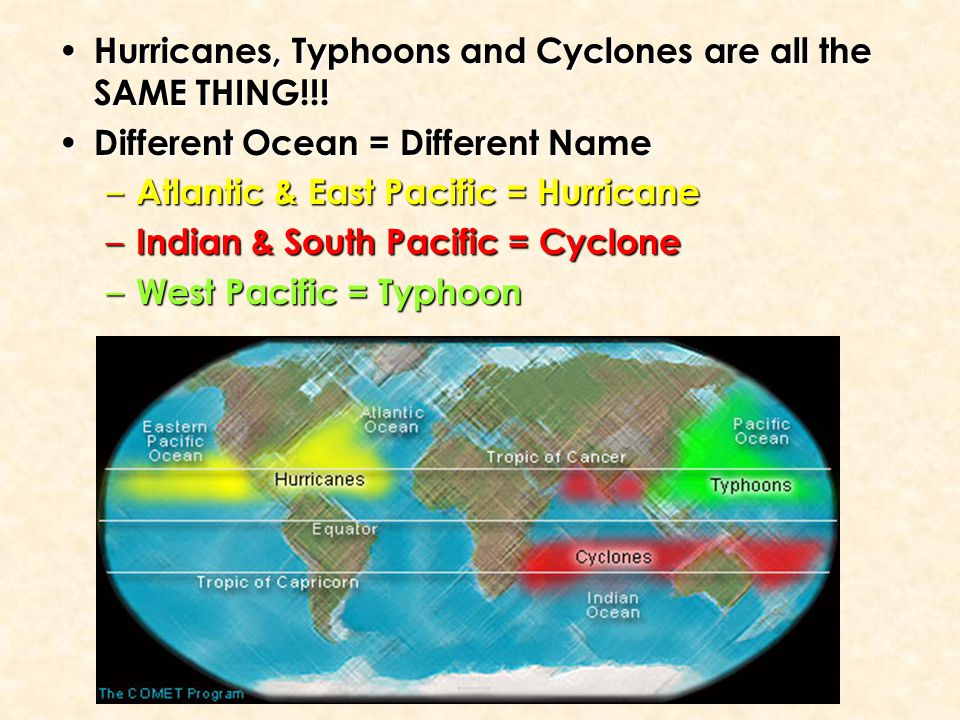 Hurricanes, Typhoons and Cyclones are all the SAME THING!!! Hurricanes, Typhoons and Cyclones are all the SAME THING!!! Different Ocean = Different Na