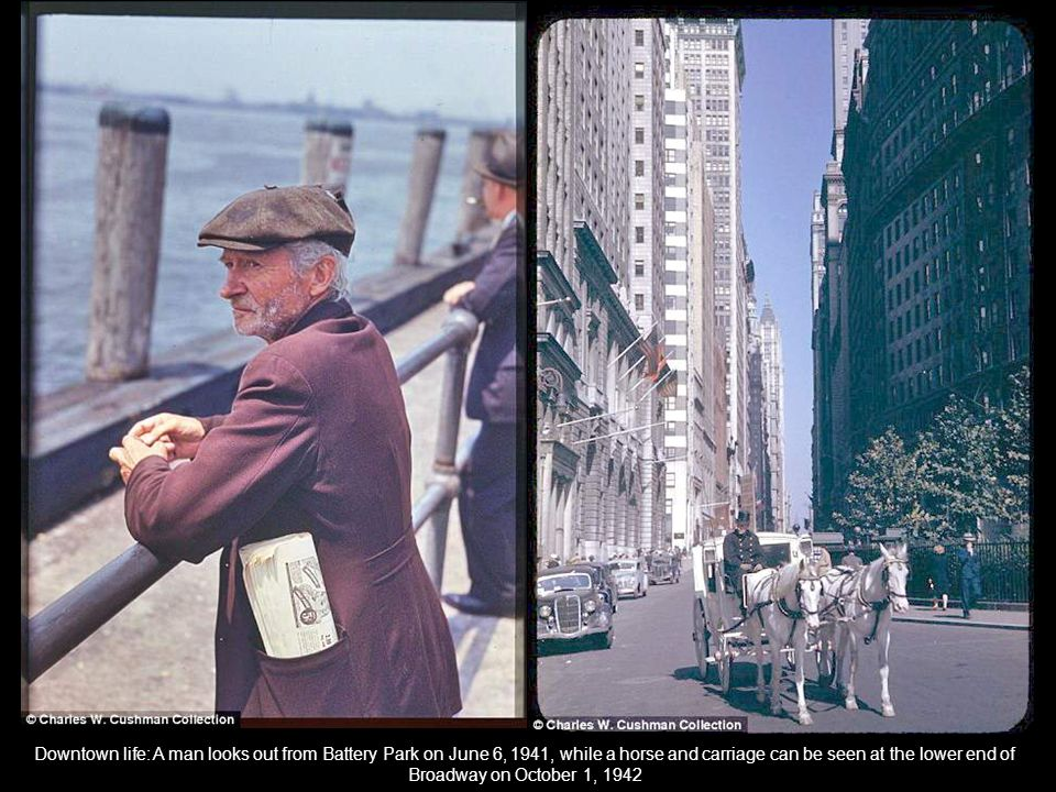 Business as usual: A street in Chinatown, left, and another in lower Manhattan, right, both snapped October 3, 1942
