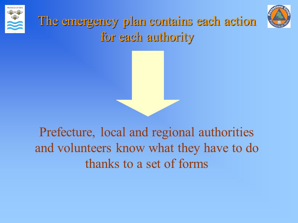 The emergency plan contains each action for each authority Prefecture, local and regional authorities and volunteers know what they have to do thanks to a set of forms