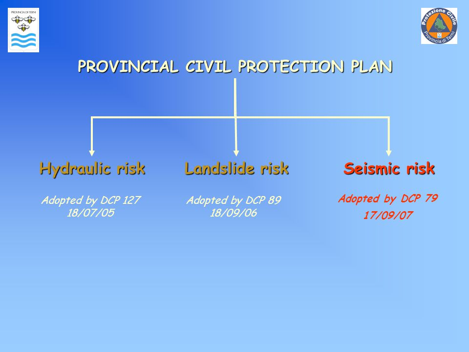 PROVINCIAL CIVIL PROTECTION PLAN Hydraulic risk Landslide risk Seismic risk Adopted by DCP 127 18/07/05 Adopted by DCP 89 18/09/06 Adopted by DCP 79 17/09/07