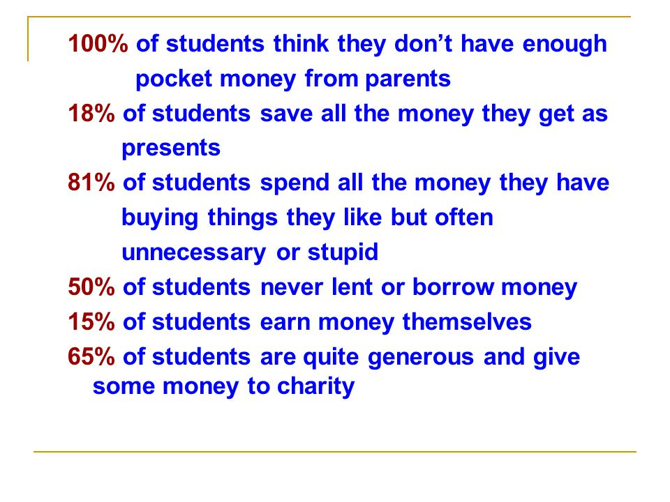 100% of students think they don't have enough pocket money from parents 18% of students save all the money they get as presents 81% of students spend