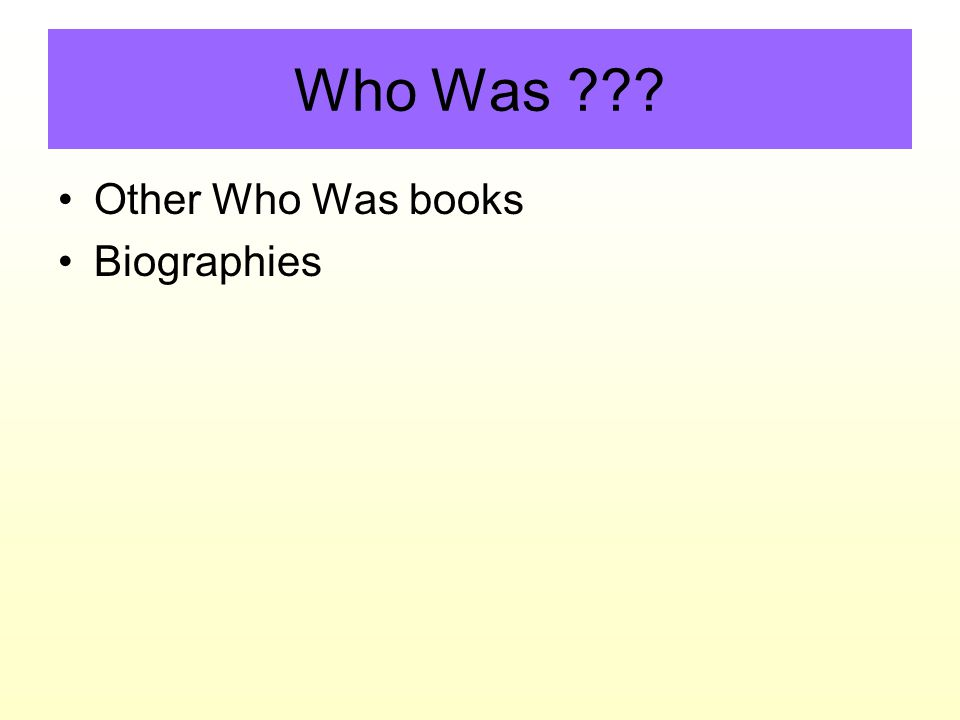 Who Was Other Who Was books Biographies