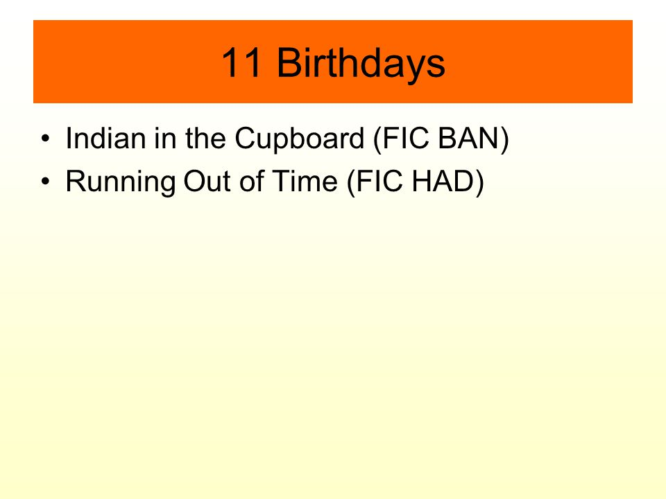 11 Birthdays Indian in the Cupboard (FIC BAN) Running Out of Time (FIC HAD)