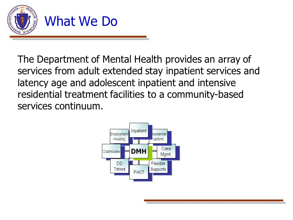 What We Do DMH Inpatient Residential options Case Mgmt.