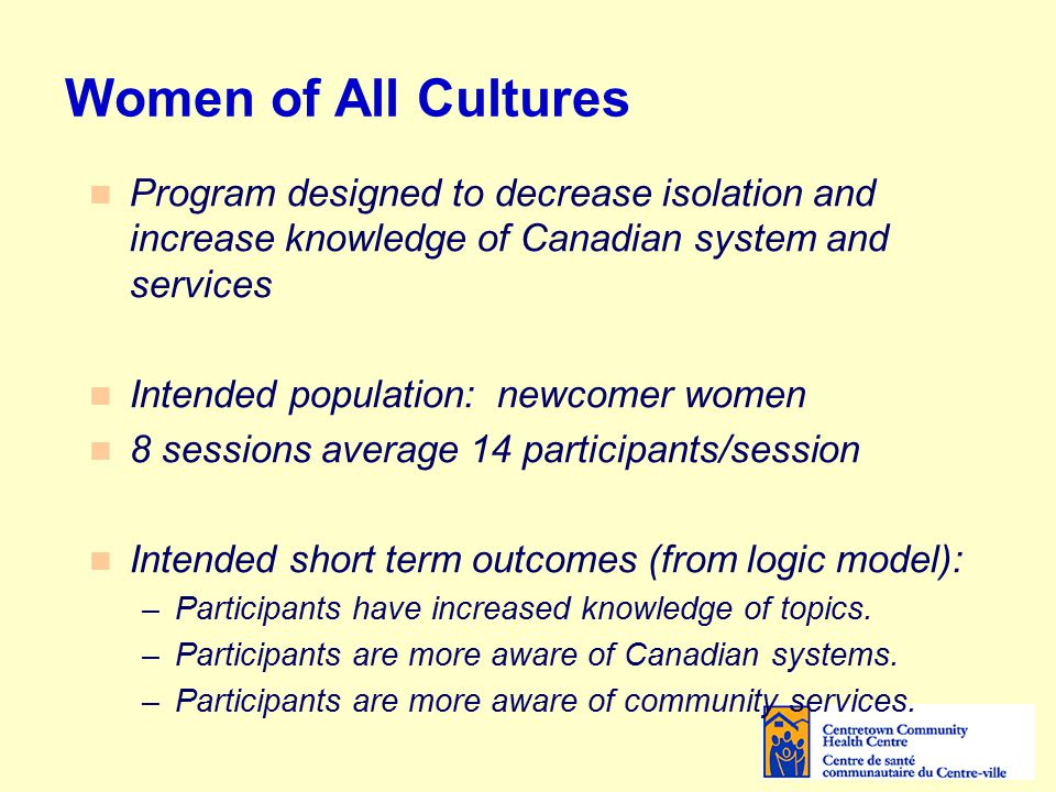 Women of All Cultures Program designed to decrease isolation and increase knowledge of Canadian system and services Intended population: newcomer women 8 sessions average 14 participants/session Intended short term outcomes (from logic model): –Participants have increased knowledge of topics.