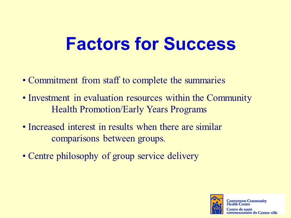 Factors for Success Commitment from staff to complete the summaries Investment in evaluation resources within the Community Health Promotion/Early Years Programs Increased interest in results when there are similar comparisons between groups.