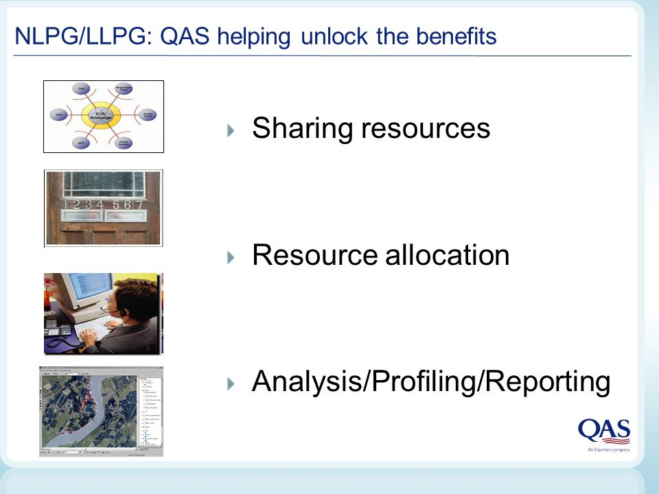NLPG/LLPG: QAS helping unlock the benefits Sharing resources Resource allocation Analysis/Profiling/Reporting