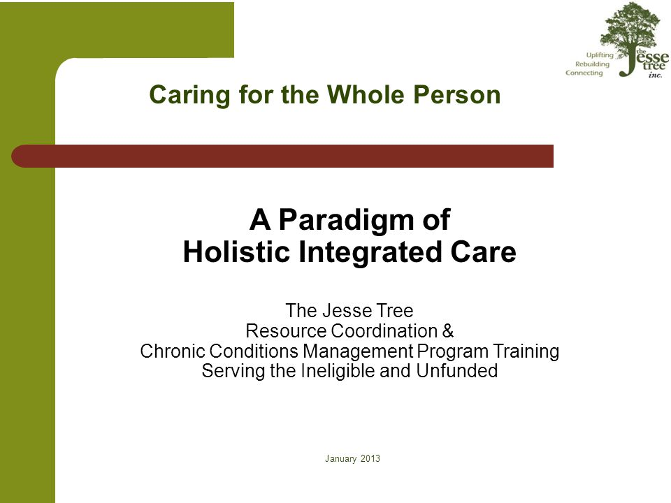 January 2013 Caring for the Whole Person A Paradigm of Holistic Integrated Care The Jesse Tree Resource Coordination & Chronic Conditions Management P
