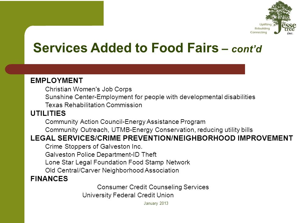 January 2013 on Services Added to Food Fairs – cont'd EMPLOYMENT Christian Women's Job Corps Sunshine Center-Employment for people with developmental