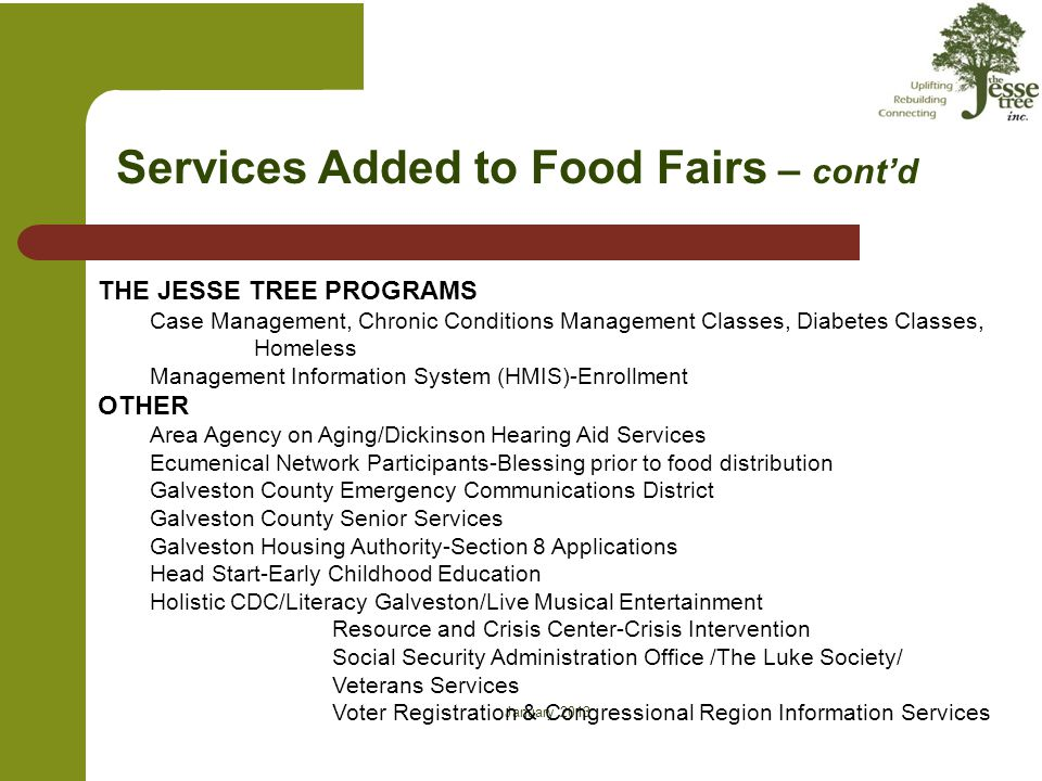 on Services Added to Food Fairs – cont'd THE JESSE TREE PROGRAMS Case Management, Chronic Conditions Management Classes, Diabetes Classes, Homeless Ma