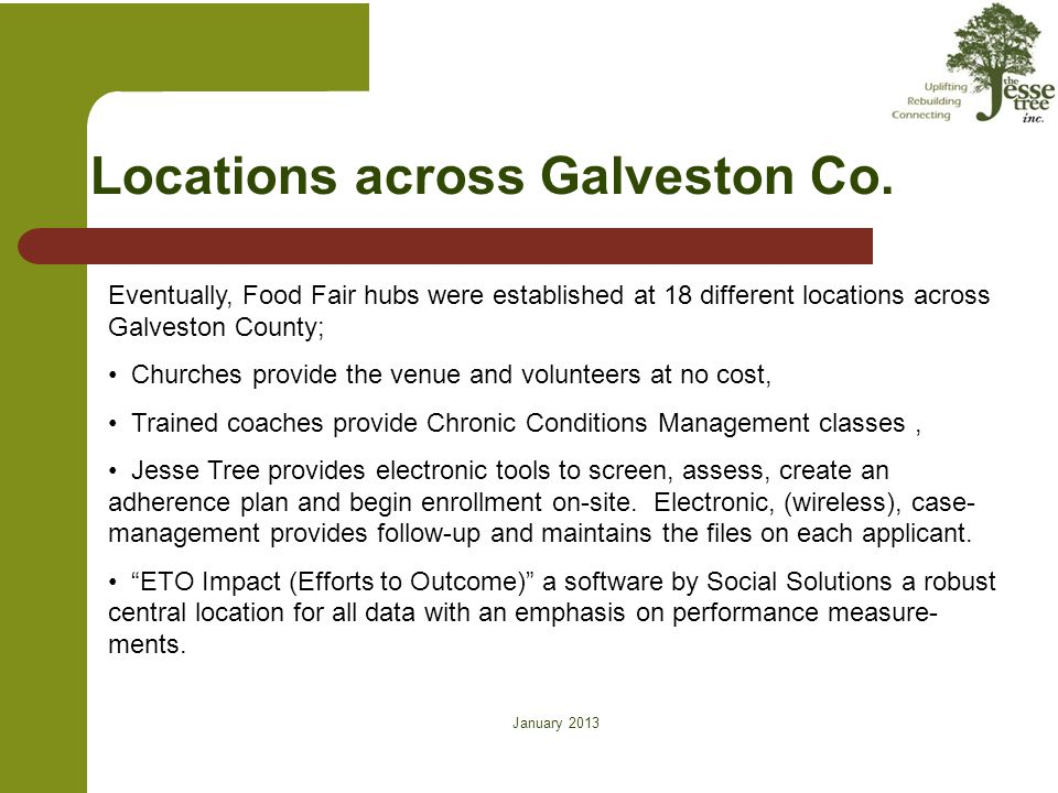Locations across Galveston Co. Eventually, Food Fair hubs were established at 18 different locations across Galveston County; Churches provide the ven