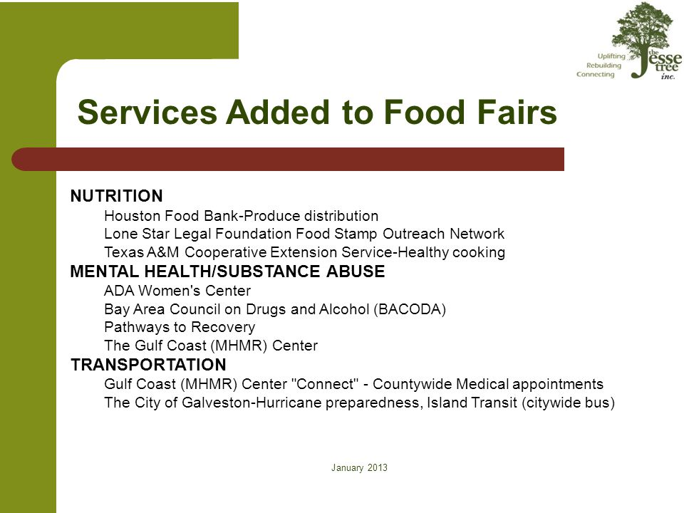 January 2013 on Services Added to Food Fairs – cont'd HEALTH & SAFETY AIDS Coalition of Coastal Texas (ACCT) American Cancer Society American Heart Association Bay Area Council on Drugs and Alcohol (BACODA)-Smoking Cessation Cancer Coalition of Galveston County CHIP (Children s Health Insurance Program) Chris Jackson Insurance Agency & UTMB, Geriatrics- Medicare Part D Coastal Area Health Education Center City of Galveston Emergency Medical Services-Vital of Life Enrollment Assistance Galveston Beach Patrol-Water Safety Galveston County Health District-Immunizations & Flu vaccines.