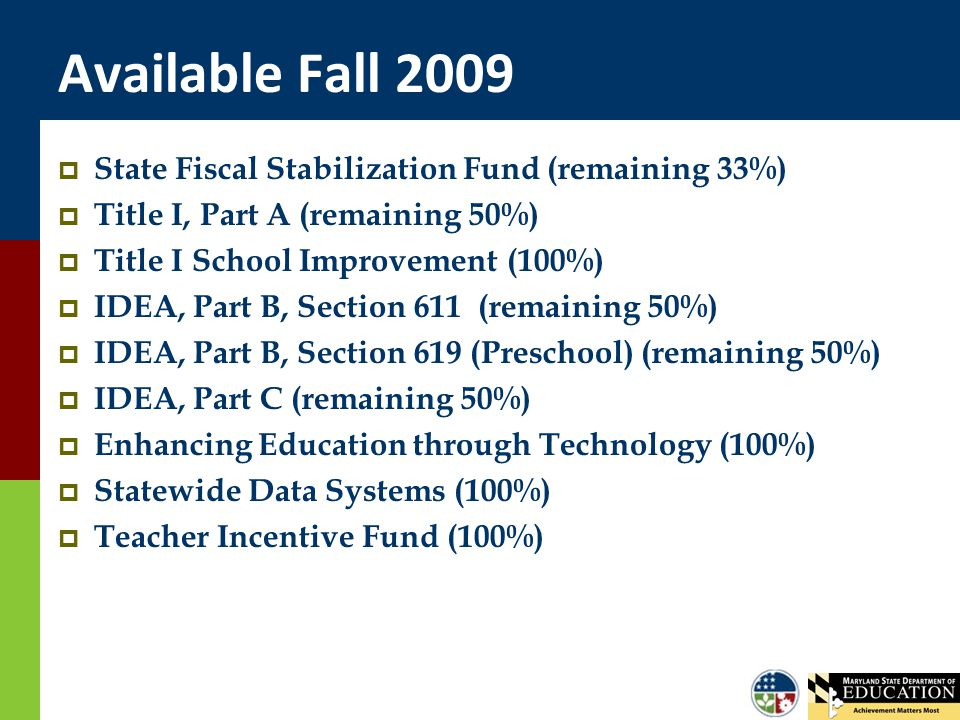 Available Fall 2009  State Fiscal Stabilization Fund (remaining 33%)  Title I, Part A (remaining 50%)  Title I School Improvement (100%)  IDEA, Part B, Section 611 (remaining 50%)  IDEA, Part B, Section 619 (Preschool) (remaining 50%)  IDEA, Part C (remaining 50%)  Enhancing Education through Technology (100%)  Statewide Data Systems (100%)  Teacher Incentive Fund (100%)