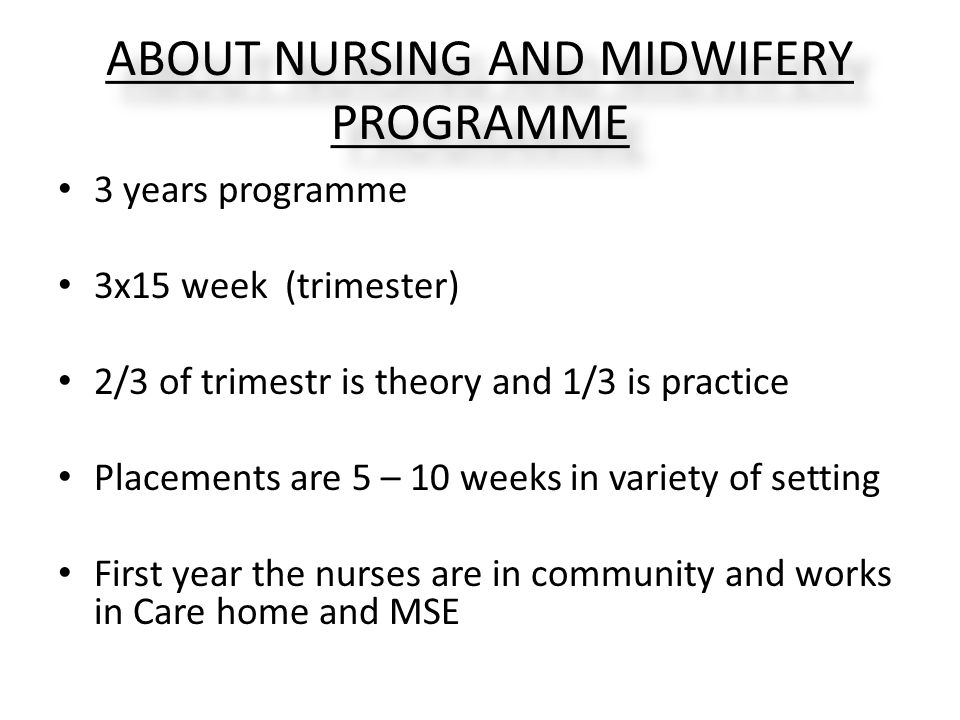 ABOUT NURSING AND MIDWIFERY PROGRAMME 3 years programme 3x15 week (trimester) 2/3 of trimestr is theory and 1/3 is practice Placements are 5 – 10 weeks in variety of setting First year the nurses are in community and works in Care home and MSE