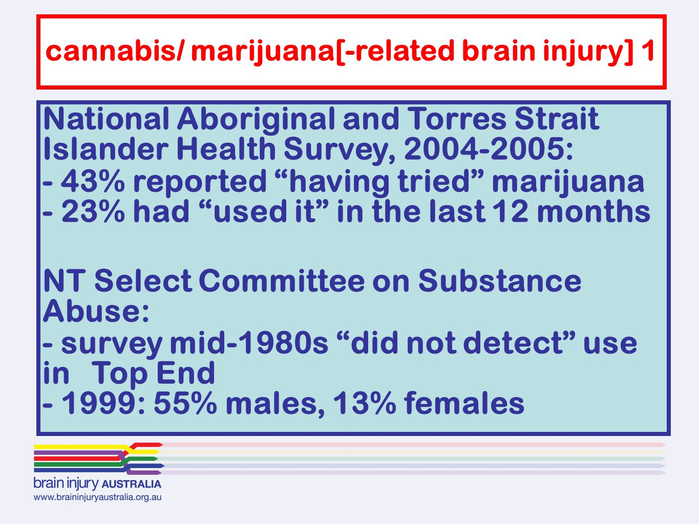 """National Aboriginal and Torres Strait Islander Health Survey, 2004-2005: - 43% reported """"having tried"""" marijuana - 23% had """"used it"""" in the last 12 mo"""